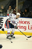 March 13, 2009:  Center David Brine (34) of the Rochester Amerks, AHL affiliate of the Florida Panthers, in the second period during a game at the Blue Cross Arena in Rochester, NY.  Toronto defeated Rochester 4-2.  Photo copyright Mike Janes Photography 2009