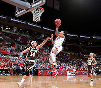 Ohio State Buckeyes forward Martina Ellerbe (23) scores against Lehigh Mountain Hawks guard Sarah Williams (14) during the second half of the NCAA women's basketball game at Value City Arena on Wednesday, November 27, 2013. (Columbus Dispatch photo by Jonathan Quilter)