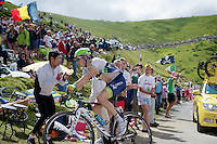 Jens Keukeleire (BEL/Orica-GreenEDGE) in the last km up the Port de Balès (HC/1755m/11.7km/7.7%)<br /> <br /> 2014 Tour de France<br /> stage16: Carcassonne - Bagnères-de-Luchon (237km)