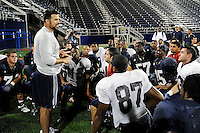 11 September 2008:  FIU Head Football Coach Mario Cristobal addresses his players after the scrimmage in the new on-campus stadium, FIU Stadium, at Miami, Florida.