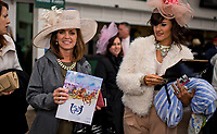 LOUISVILLE, KY - MAY 06: A woman wearing a fancy hat holds a program on Kentucky Derby Day at Churchill Downs on May 6, 2017 in Louisville, Kentucky. (Photo by Douglas DeFelice/Eclipse Sportswire/Getty Images)