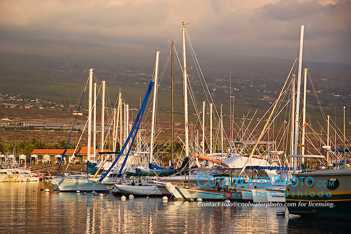 Honokohau Harbor at sunsset, Kona, Big Island, Hawaii, Pacific Ocean