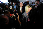 Former House speaker and Republican presidential candidate Newt Gingrich (C) and his wife Callista, arrive at a campaign stop in Sarasota, Florida, USA, 24 January 2012. Republican candidates will campaign in Florida in the lead up to the Florida Primary on 31 January 2012.
