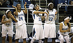 Bulldogs, from left, Samantha Thomas, Bailey Thomas, Sarah Kruthaupt, Eboni Walker and Melanie Isbell cheer for teammates during a game against Reno in the NIAA state Division I basketball tournament in Reno, Nev. on Thursday, Feb. 25, 2016. Centennial won 82-53. Cathleen Allison/Las Vegas Review-Journal