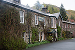 Traditional stone building at Howtown Hotel, Ullswater, Cumbria, England, UK