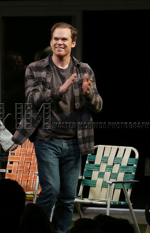 Michael C. Hall during the Broadway Opening Night Performance Curtain Call for 'The Realistic Joneses'  at the Lyceum Theatre on April 6, 2014 in New York City.