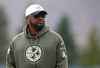 Head coach Mike Tomlin of the Pittsburgh Steelers looks on during practice at the south side practice facility on November 18, 2015 in Pittsburgh, PA.
