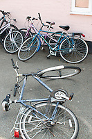 Bikes, Summerhill School, Leiston, Suffolk. The school was founded by A.S.Neill in 1921 and is run on democratic lines with each person, adult or child, having an equal say.  You don't have to go to lessons if you don't want to but could play all day.  It gets above average GCSE exam results.
