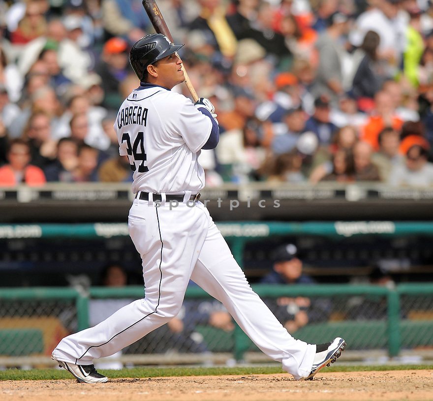 MIGUEL CABRERA, of the Detroit Tigers  , in action  during the Tigers game against the Texas Rangers  on April 10, 2009 in Detroit, Michigan  The Tigers beat  the Rangers 15-2.