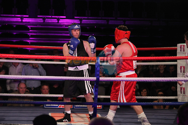"Graham Hughes ""Thee President"" (black) sponsored by Outsource and Mark ""Bone Crusher"" McGowan (red) sponsored by Scholars Townhouse Hotel taking part in Drogheda and District, ""Battle of the Barbican"" White Collar Boxing Event in aid of the Des Smyth Foundation..(Photo credit should read Jenny Matthews www.newsfile.ie)....This Picture has been sent you under the conditions enclosed by:.Newsfile Ltd..The Studio,.Millmount Abbey,.Drogheda,.Co Meath..Ireland..Tel: +353(0)41-9871240.Fax: +353(0)41-9871260.GSM: +353(0)86-2500958.email: pictures@newsfile.ie.www.newsfile.ie."