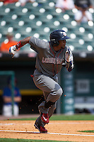 Lehigh Valley IronPigs right fielder Cedric Hunter (21) runs to first base during a game against the Buffalo Bisons on August 28, 2016 at Coca-Cola Field in Buffalo, New York.  Lehigh Valley defeated Buffalo 5-2.  (Mike Janes/Four Seam Images)