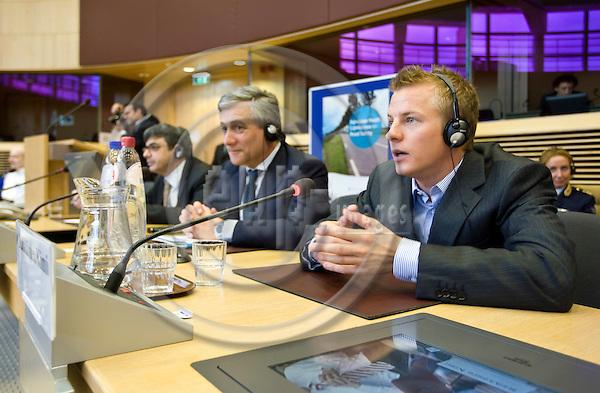 BRUSSELS - BELGIUM - 10 JULY 2008 -- Vice President Antonio TAJANI (Le), EU commissioner for transport and Kimi RÄIKKÖNEN (Raikkonen), Formula 1 world champion, at the European Youth Forum for Road Safety. -- PHOTO: Juha ROININEN / EUP-IMAGES