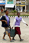 AWASA - ETHIOPIA - 15 APRIL 2004 -- Ethiopian girls carrying a water canister in the East African Rift Valley city of Awasa. --PHOTO: JUHA ROININEN / EUP-IMAGES