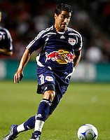 New York forward Juan Pablo Angel (9) dribbles the ball.  The Chicago Fire defeated the New York Red Bulls 1-0 at Toyota Park in Bridgeview, IL on September 6, 2008.