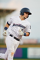 Pensacola Blue Wahoos Shrimp catcher Chris Okey (5) rounds the bases after hitting a home run in the bottom of the third inning during a game against the Jacksonville Jumbo on August 15, 2018 at Blue Wahoos Stadium in Pensacola, Florida.  Jacksonville defeated Pensacola 9-2.  (Mike Janes/Four Seam Images)