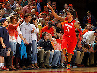 Maryland guard Nick Faust (5) reacts to a play during the game Sunday in Charlottesville, VA. Virginia defeated Maryland in overtime 61-58. Photo/Andrew Shurtleff