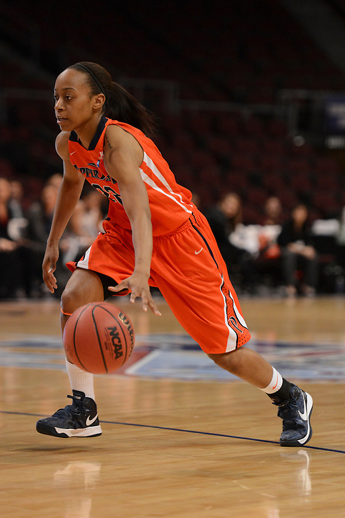 March 6, 2013; Las Vegas, NV, USA; Pepperdine Waves guard Shay Cooney-Williams (22) dribbles the ball against the San Francisco Dons during the second half of the WCC Basketball Championships at Orleans Arena.