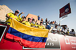 Esteban Chavez (COL) Orica GreenEdgeColombian fans on Stage 3, The Al Ain Stage, of the 2015 Abu Dhabi Tour starting from the Al Qattara Souq in Al Ain and running 129 km to the mountain top finish at Jebel Hafeet at 1025 metres, Abu Dhabi. 10th October 2015.<br /> Picture: ANSA/Angelo Carconi | Newsfile
