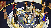 United States President Donald Trump and First Lady Melanie Trump and Vice-President Mike Pence and wife Karen each dance with a member of the armed services while attending the Commander's in Chief Ball on January 20, 2017 in Washington, D.C.    <br /> Credit: Kevin Dietsch / Pool via CNP