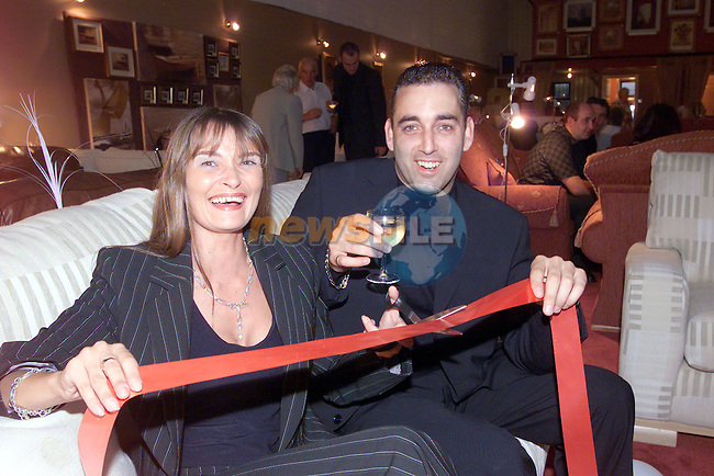 Karen Fitzgerald and Gerry Wilson celebrating the opening of the Sofa Company's new premises in the New Grange Business park..Photo Fran Caffrey/Newsfile.ie..This picture has been sent to you by:.Newsfile Ltd,.3 The View,.Millmount Abbey,.Drogheda,.Co Meath..Ireland..Tel: +353-41-9871240.Fax: +353-41-9871260.GSM: +353-86-2500958.ISDN: +353-41-9871010.IP: 193.120.102.198.www.newsfile.ie..email: pictures@newsfile.ie..This picture has been sent by Fran Caffrey.francaffrey@newsfile.ie