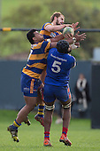 Harley Jenkins and Vini Iosua get above Viliame Rarasea as they compete for the ball at the restart. Counties Manukau Premier Club Rugby game between Patumahoe and Ardmore Marist, played at Patumahoe on Saturday July 9th 2016.<br /> Ardmore Marist won the game 33 - 24 after leading 18 - 12 at halftime. Photo by Richard Spranger.