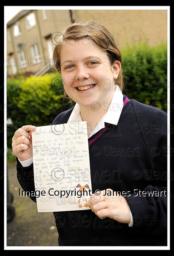 05/06/2008   Copyright Pic: James Stewart.File Name : sct_jspa05_fettes.JENNIFER GENTLEMAN WHO HAS BEEN ACCEPTED INTO FETTES COLLEGE AFTER WRITING A LETTER REQUESTING A BURSARY... .James Stewart Photo Agency 19 Carronlea Drive, Falkirk. FK2 8DN      Vat Reg No. 607 6932 25.Studio      : +44 (0)1324 611191 .Mobile      : +44 (0)7721 416997.E-mail  :  jim@jspa.co.uk.If you require further information then contact Jim Stewart on any of the numbers above........