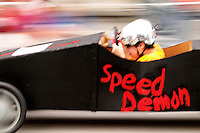 Boy competing in Soap Box Grand Prix during Kla Ha Ya Days festival, Snohomish, Snohomish County, Washington, US