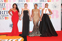 Little Mix arriving at The Brit Awards 2015 (Brits) held at the O2 - Arrivals, London. 25/02/2015 Picture by: James Smith / Featureflash