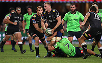 DURBAN, SOUTH AFRICA - MAY 05: Dillon Hunt of the Pulse Energy Highlanders looks to tackle Jean-Luc du Preez during the Super Rugby match between Cell C Sharks and Highlanders at Jonsson Kings Park Stadium in Durban, South Africa on Saturday, 5 May 2018. Photo: Steve Haag / stevehaagsports.com