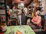 A Serbian family in their apartment--<br /> Grandmother--Beba Jovanovic Family--grandmother (Srdjana Jovanovic Trifunovic--older daughter--<br /> man and young daughter--Despotovic--)