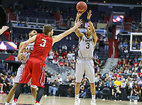 Washington, DC - March 10, 2018: St. Bonaventure Bonnies guard Jaylen Adams (3) makes a jump shot during the Atlantic 10 semi final game between St. Bonaventure and Davidson at  Capital One Arena in Washington, DC.   (Photo by Elliott Brown/Media Images International)