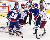 Derek Arnold (UML - 29), Patrick Wey (BC - 6), Teddy Doherty (BC - 4), Colin Wright (UML - 8), Quinn Smith (BC - 27) - The Boston College Eagles defeated the visiting University of Massachusetts Lowell River Hawks 6-3 on Sunday, October 28, 2012, at Kelley Rink in Conte Forum in Chestnut Hill, Massachusetts.