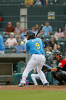 Myrtle Beach Pelicans outfielder Conner Myers (9) at bat  during a game against the Carolina Mudcats at Ticketreturn.com Field at Pelicans Ballpark on June 15 , 2018 in Myrtle Beach, South Carolina. Carolina defeated Myrtle Beach 4-2. (Robert Gurganus/Four Seam Images)