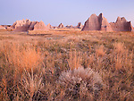 prairie and pinnacles along Castle Trail, Badlands National Park, South Dakota