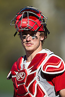 Andrew Knizner (11) of the North Carolina State Wolfpack prior to the game against the Charlotte 49ers at BB&T Ballpark on March 31, 2015 in Charlotte, North Carolina.  The Wolfpack defeated the 49ers 10-6.  (Brian Westerholt/Four Seam Images)