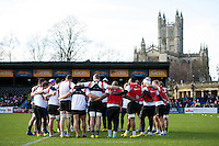 The Bath Rugby squad huddle together. Bath Rugby Captain's Run on February 19, 2016 at the Recreation Ground in Bath, England. Photo by: Patrick Khachfe / Onside Images