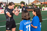 Boston, MA - Sunday September 10, 2017: Referee Danielle Chesky discusses the coin toss with fans during a regular season National Women's Soccer League (NWSL) match between the Boston Breakers and Portland Thorns FC at Jordan Field.