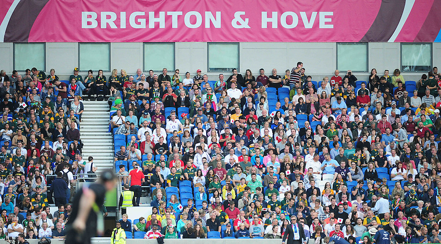 Fans await kick-off at the Brighton Community Stadium, venue for South Africa v Japan<br /> <br /> Photographer Kevin Barnes/CameraSport<br /> <br /> Rugby Union - 2015 Rugby World Cup - Japan v South Africa - Saturday 19th September 2015 - The American Express Community Stadium - Falmer - Brighton<br /> <br /> &copy; CameraSport - 43 Linden Ave. Countesthorpe. Leicester. England. LE8 5PG - Tel: +44 (0) 116 277 4147 - admin@camerasport.com - www.camerasport.com
