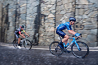 Johan Jacobs (SUI/Movistar) racing in torrential rains up Il Piccolo Stelvio at <br /> Grande Trittico Lombardo 2020 (1.Pro/ITA)<br /> 1 day race from Legnano to Varese (200km)