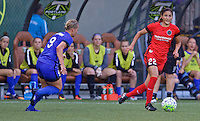 Portland, OR - Saturday July 30, 2016: Jennifer Skogerboe, Merritt Mathias during a regular season National Women's Soccer League (NWSL) match between the Portland Thorns FC and Seattle Reign FC at Providence Park.