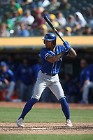 OAKLAND, CA - SEPTEMBER 18:  Adalberto Mondesi #27 of the Kansas City Royals bats against the Oakland Athletics during the game at the Oakland Coliseum on Wednesday, September 18, 2019 in Oakland, California. (Photo by Brad Mangin)