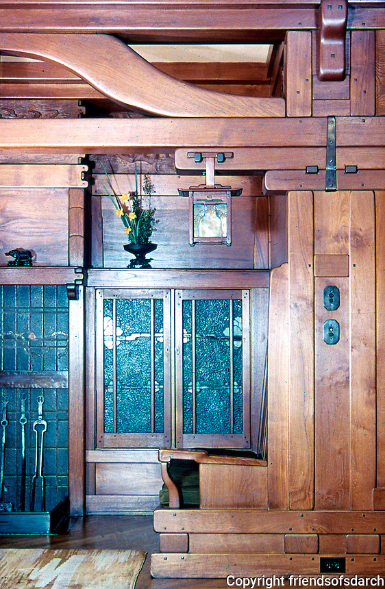 Greene & Greene: Gamble House, Pasadena CA. Inglenook detail.