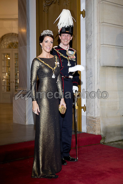 01 January 2017 - Amalienborg Princess Mary and Prince Frederik and Princess Marie and Prince Joachim and Queen Margrethe and Prince Henrik arrive for the New Years reception at Amalienborg in Copenhagen. Photo Credit: PPE/face to face/AdMedia