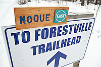 Trail signs on the Noquemanon Trails nordic ski trails in Marquette Michigan.