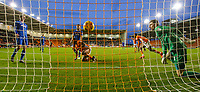 Blackpool players celebrate Viv Solomon-Otabor's equaliser which brought the score to 1-1<br /> <br /> Photographer Alex Dodd/CameraSport<br /> <br /> The EFL Sky Bet League One - Blackpool v Portsmouth - Saturday 11th November 2017 - Bloomfield Road - Blackpool<br /> <br /> World Copyright &copy; 2017 CameraSport. All rights reserved. 43 Linden Ave. Countesthorpe. Leicester. England. LE8 5PG - Tel: +44 (0) 116 277 4147 - admin@camerasport.com - www.camerasport.com