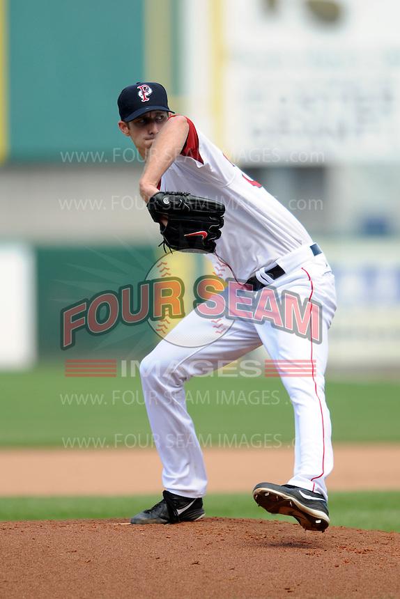 Pawtucket Red Sox pitcher Clayton Mortensen #34 during a game versus the Louisville Bats at McCoy Stadium in Pawtucket, Rhode Island on August 14, 2013.  (Ken Babbitt/Four Seam Images)