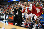 Wisconsin Badgers celebrate a 3 point play during  a regional semifinal NCAA college basketball tournament game against the Baylor Bears Thursday, March 27, 2014 in Anaheim, California. The Badgers won 69-52. (Photo by David Stluka)