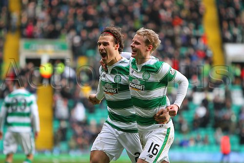 20.02.2016. Celtic Park, Glasgow, Scotland. Scottish Premier League. Celtic versus Inverness CT. Gary Mackay-Steven celebrates with Erik Sviatchenko