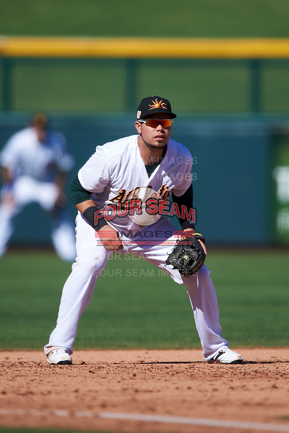 Mesa Solar Sox third baseman Renato Nunez (25) during an Arizona Fall League game against the Scottsdale Scorpions on October 19, 2015 at Sloan Park in Mesa, Arizona.  Scottsdale defeated Mesa 10-6.  (Mike Janes/Four Seam Images)