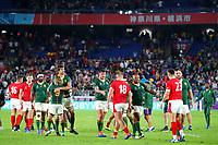 27th October 2019, Oita, Japan;  The teams shake hands at game end;  2019 Rugby World Cup Semi-final match between Wales 16-19 South Africa at International Stadium Yokohama in Yokohama, Kanagawa, Japan.  - Editorial Use